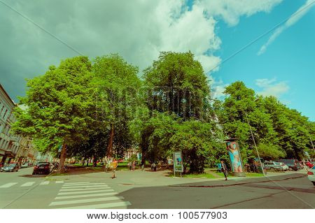 OSLO, NORWAY - 8 JULY, 2015: Entrance to Olaf Ryes Plass, recreational park area located at charming