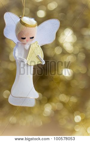 Angel with Harp Decoration - Vertical