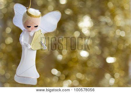 Angel with Harp Decoration - Horizontal