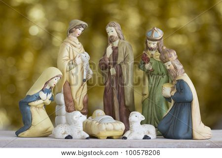 Nativity Scene on Golden Background