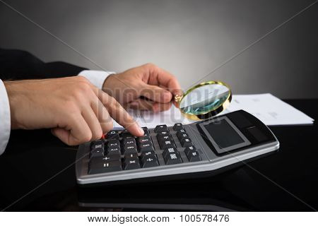 Businessperson Inspecting Invoice