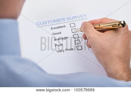 Businessperson Marking On Customer Survey Form
