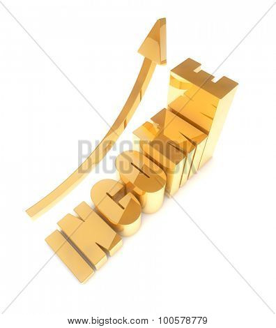 Rising income concept 3D image isolated on white background.