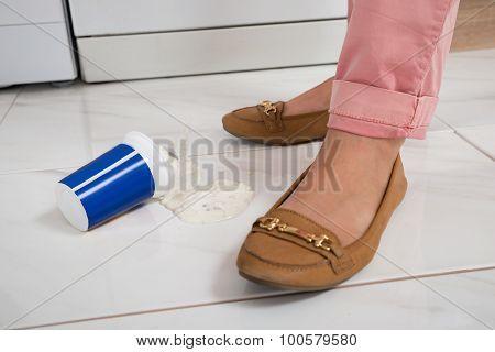 Female Leg With The Spilled Yoghurt