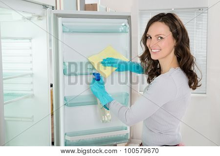 Woman Cleaning Refrigerator With Rag