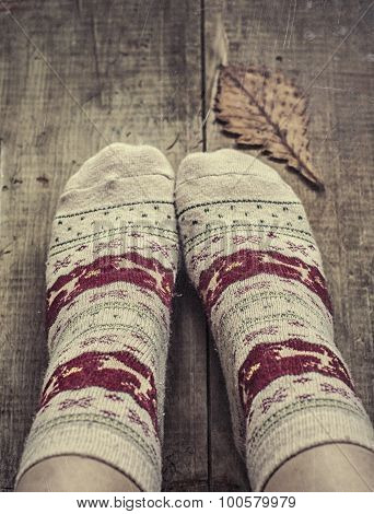 Feet In Knitted Woolen Socks And Oak Leaf