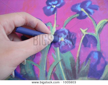 Hand Drawing A Violet Flower With Crayon