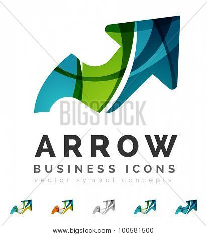 Set of arrow logo business icons. Created with overlapping colorful abstract waves and swirl shapes