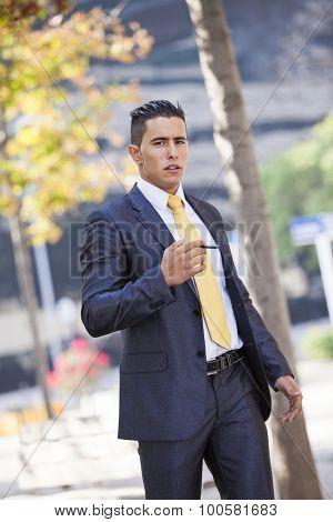 Businessman smoking a cigar to relax