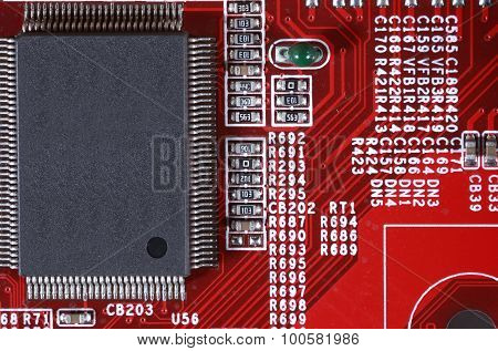 Close-up Of Red Electronic Circuit Board With Processor
