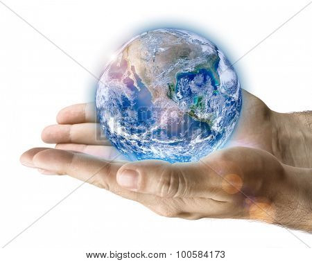 Male hand holding earth on white background