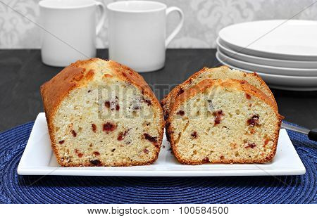 Cranberry Pound Cake, Sliced On A Plate.