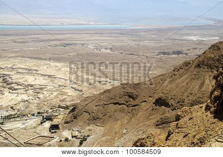 Judean Desert And Dead Sea In Israel, View From Masada Fortress