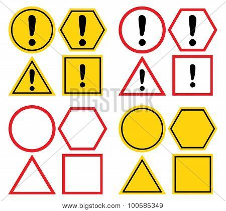 Set of blank attention sign and with exclamation mark.
