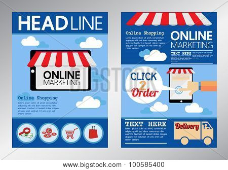 E commerce online marketing magazine cover, flyer, brochure