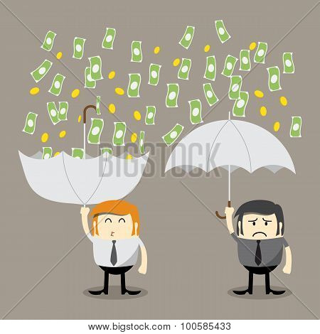 Money falling, Coin falling from sky, money catching by umbrella