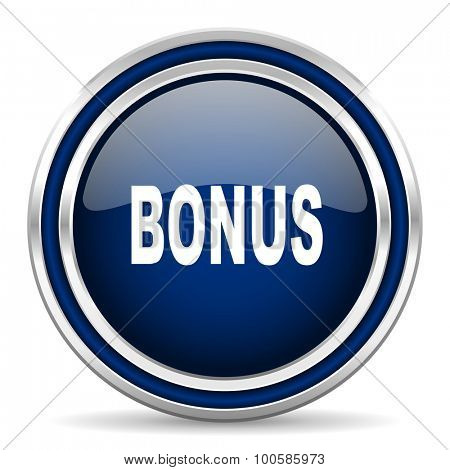 bonus blue glossy web icon modern computer design with double metallic silver border on white background with shadow for web and mobile app round internet button for business usage