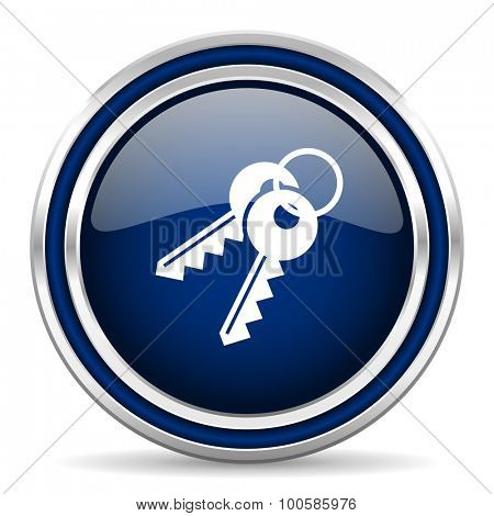 keys blue glossy web icon modern computer design with double metallic silver border on white background with shadow for web and mobile app round internet button for business usage