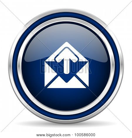 email blue glossy web icon modern computer design with double metallic silver border on white background with shadow for web and mobile app round internet button for business usage