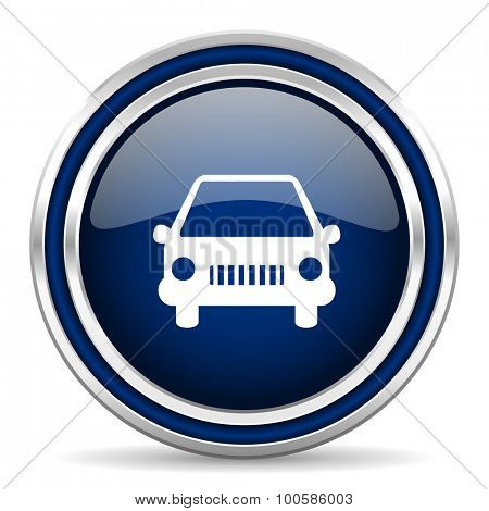 car blue glossy web icon modern computer design with double metallic silver border on white background with shadow for web and mobile app round internet button for business usage