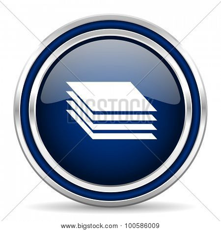 layers blue glossy web icon modern computer design with double metallic silver border on white background with shadow for web and mobile app round internet button for business usage