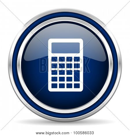 calculator blue glossy web icon modern computer design with double metallic silver border on white background with shadow for web and mobile app round internet button for business usage