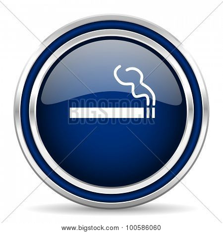 cigarette blue glossy web icon modern computer design with double metallic silver border on white background with shadow for web and mobile app round internet button for business usage