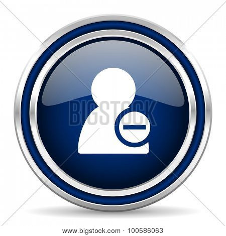 remove contact blue glossy web icon modern computer design with double metallic silver border on white background with shadow for web and mobile app round internet button for business usage