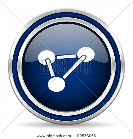 chemistry blue glossy web icon modern computer design with double metallic silver border on white background with shadow for web and mobile app round internet button for business usage
