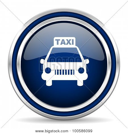 taxi blue glossy web icon modern computer design with double metallic silver border on white background with shadow for web and mobile app round internet button for business usage