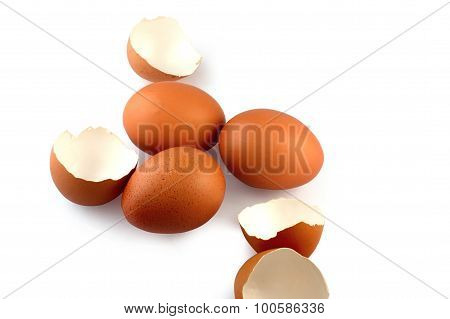 Eggs And Eggshell On White Background
