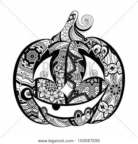 Vector Decorative Monochrome Pumkin With Smile