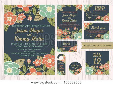Tropical Flower Wedding Invitation Vintage Design Sets