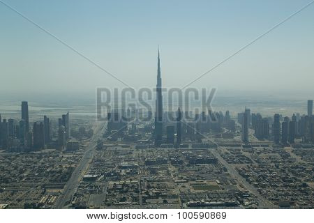 Dubai skyline aerial view