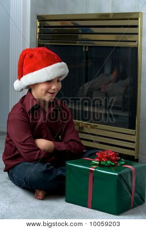Boy In Santa Hat Waiting