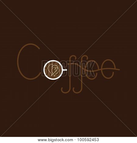 Coffee Lettering With Coffee Cup
