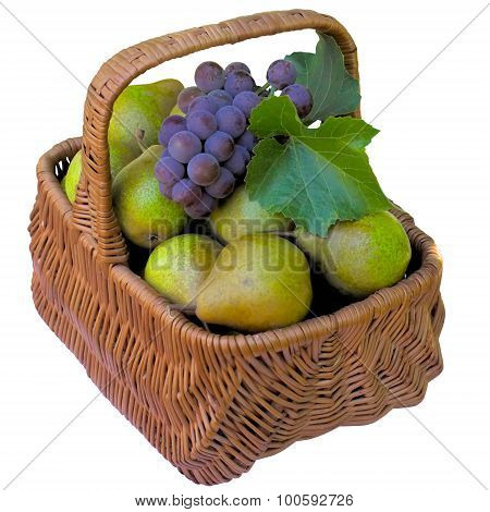 Basket With Pears And Grapes.