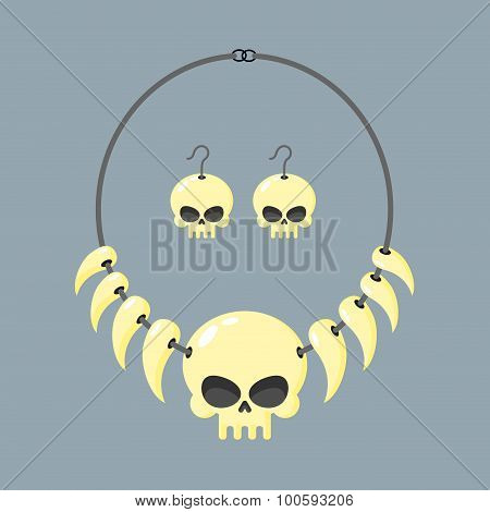 Necklace Of Skull And Tusks. Beads, Aboriginal Cannibals And Barbarians. Vector Illustration Terribl