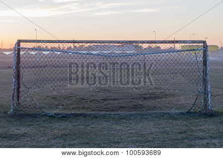 Old Soccer Goal With Faulted Net