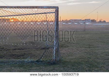 Abandoned Soccer Field And Old Rusty Goals On Sunset, Nostalgia Concept