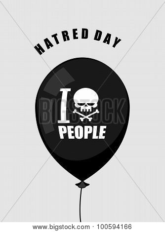 Hatred Day. I Hate People. Black Balloon With A Symbol Of Hatred: A Skull With Crossed Bones. Access