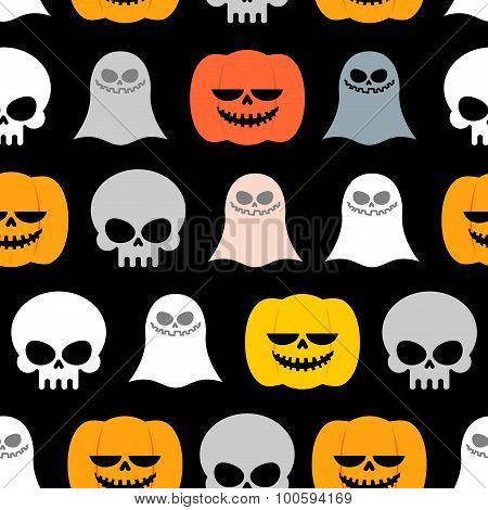 Seamless Pattern For Halloween. Background Of The Symbols Of The Horrible Holiday: Skull, Ghost And