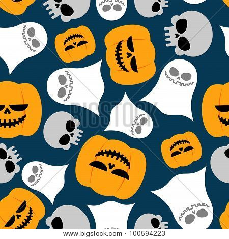 Pumpkin, Ghost And Skull Seamless Pattern. Vector Backgrounds For Halloween. Texture For Holiday Beg