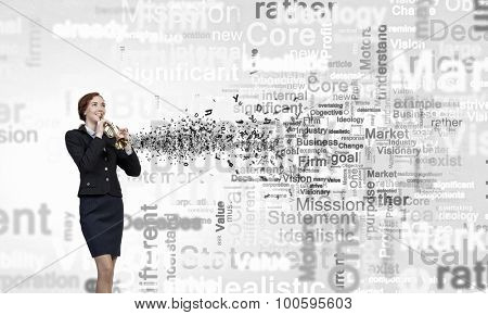 Cheerful businesswoman playing fife on white background