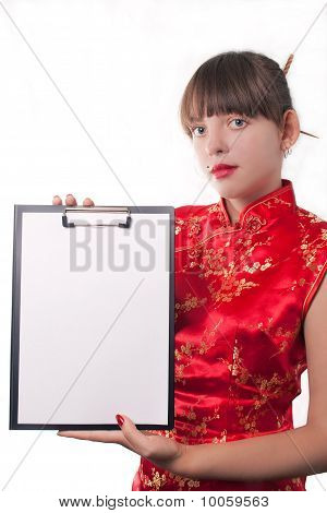 Girl holds a folder