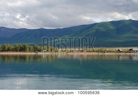 The lake and mountains in the Republic of Tuva