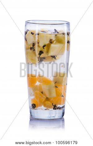 Infused Water Mix Of Orange, Pineapple And Green Tea