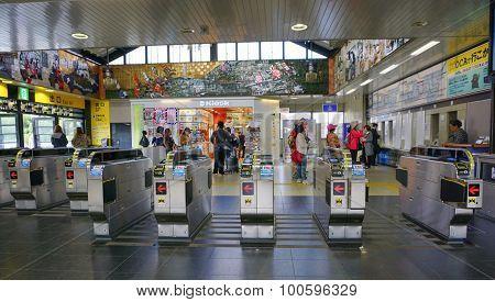 People Enter Tokyo Metro