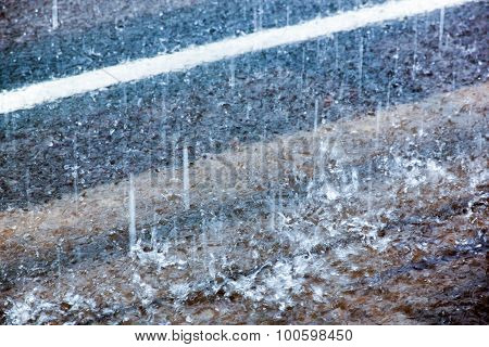 Raindrop Indentations On Water
