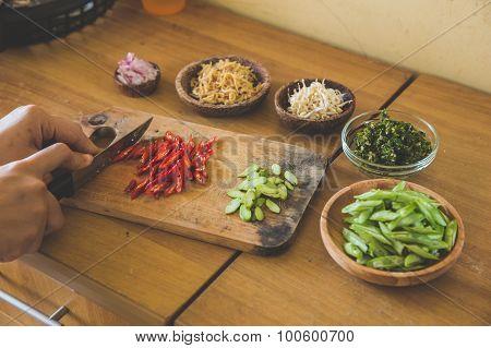 Ingredients, Preparing To Cook Stir-fry Vegetables